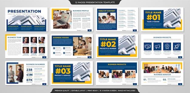 Modello di presentazione minimalista con uso di stile pulito per relazione annuale aziendale e infografica
