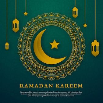 Modello minimalista di ramadan kareem greeting card