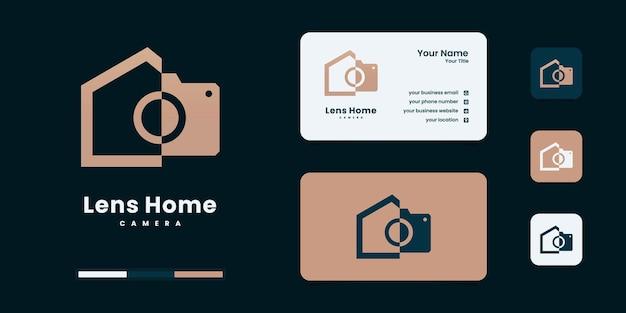 Modello minimalista di progettazione del logo del cerchio del concetto di fotografia dell'obiettivo e immobiliare