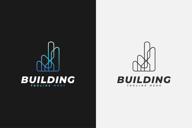 Logo minimalista immobiliare in sfumatura blu con stile di linea. modello di progettazione del logo di costruzione, architettura o edificio