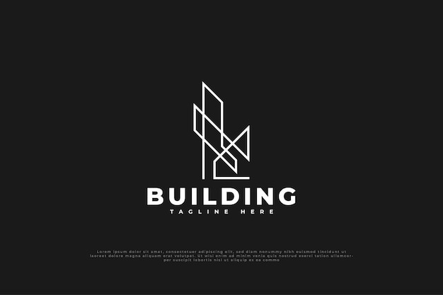 Logo minimalista immobiliare con stile di linea. modello di progettazione del logo di costruzione, architettura o edificio