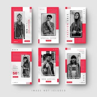Modello sociale rosso minimalista della raccolta dell'insegna di storie di instagram di media