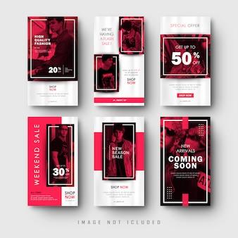 Collezione di banner di storie di social media rosse minimaliste