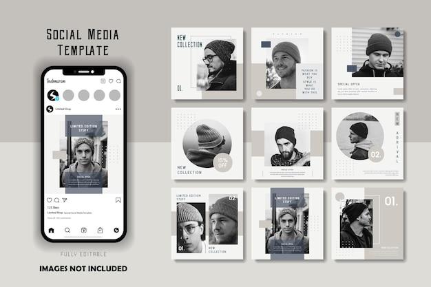 Set di modelli di post di social media per uomo di moda grigio bianco monocromatico semplice minimalista