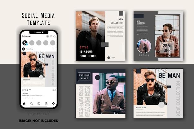 Set di modelli di post sui social media per uomo di moda grigio bianco semplice minimalista