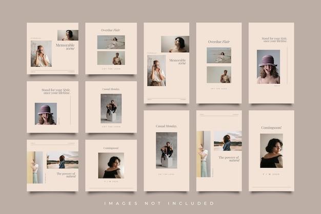 Raccolta di modelli di post e storie sui social media minimalisti