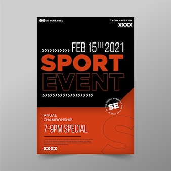 Modello di poster di evento sportivo minimalista