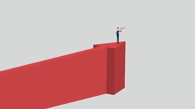 Stile minimalista. finanza aziendale vettoriale. concetto di visione di successo con icona di uomo d'affari e telescopio, leadership, strategia, missione, obiettivi.