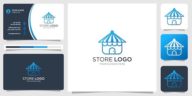 Design minimalista del negozio di moda del logo del negozio. logo del negozio creativo con modello di progettazione biglietto da visita.