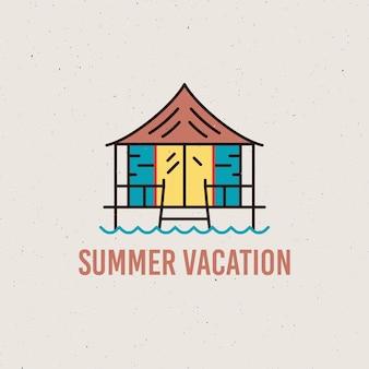 Illustrazione di vettore del profilo di stile minimalista con iscrizione di vacanze estive e casa sulla spiaggia in riva al mare per il design del logo e t-shirt isolato su priorità bassa bianca