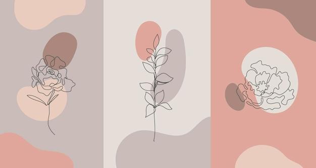 Piante in stile minimalista fiore della linea della mano