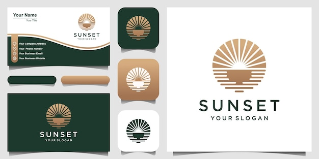 Ispirazione minimalista del design del logo dell'oceano al tramonto.