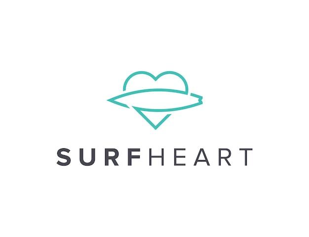 Surf minimalista e cuore delineano un design semplice ed elegante del logo geometrico creativo moderno