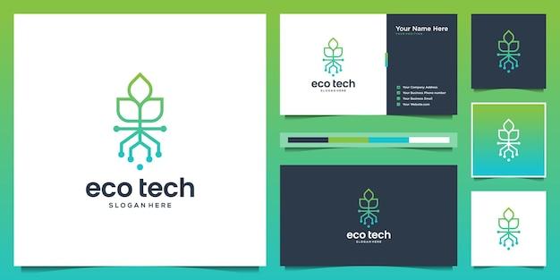 Modello di progettazione logo albero minimalista tech. foglia logo idea creativa e punto dati con biglietto da visita.