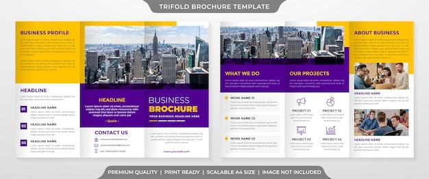 Modello di brochure a tre ante minimalista