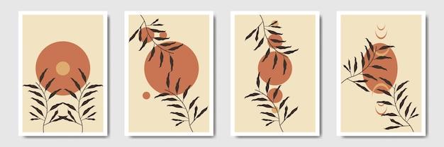 Linea arte minimalista di fogliame botanico tropicale che disegna foglie astratte con stile bohémien