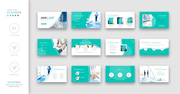 Modello di presentazione aziendale turchese minimalista.