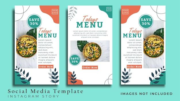 Volantino di cibo vegano minimalista o storia sui social media vettore premium