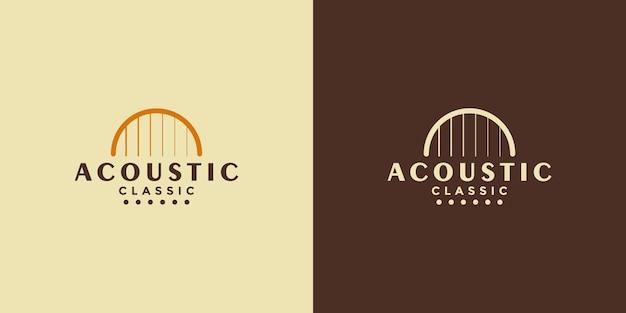Vettore di logo di chitarra acustica in stile retrò vintage minimalista