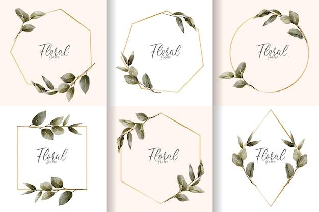 Collezione di cornici floreali ad acquerello minimalista con foglie disegnate a mano