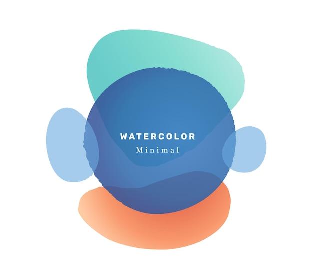 Insegna astratta isolata design minimalista della chiazza di forma liquida dell'acquerello con iscrizione