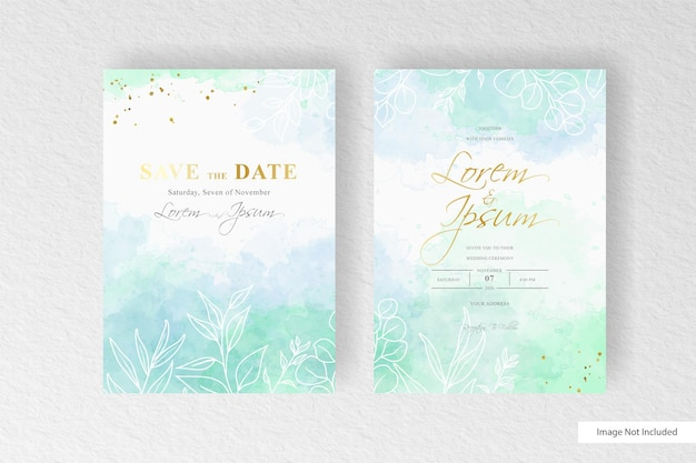 Modello di carta di nozze dell'acquerello minimalista con disegno floreale disegnato a mano e spruzzata dell'acquerello