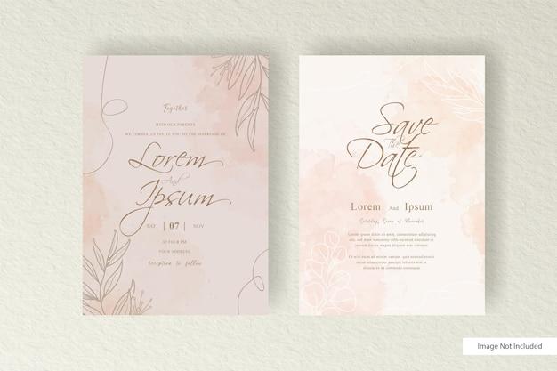 Modello di carta di nozze dell'acquerello minimalista con schizzi ad acquerello e fluido dinamico disegnato a mano astratto