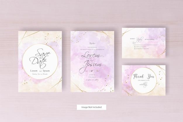 Carta di invito matrimonio minimalista dell'acquerello con disegno ad acquerello liquido