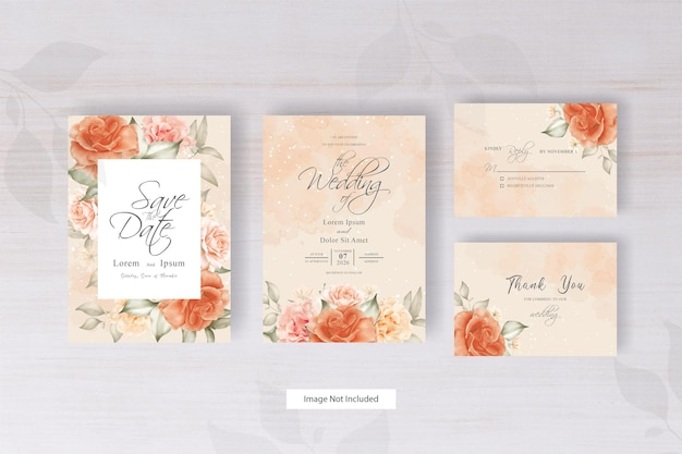 Design minimalista del modello dell'invito di nozze dell'acquerello con disposizione floreale