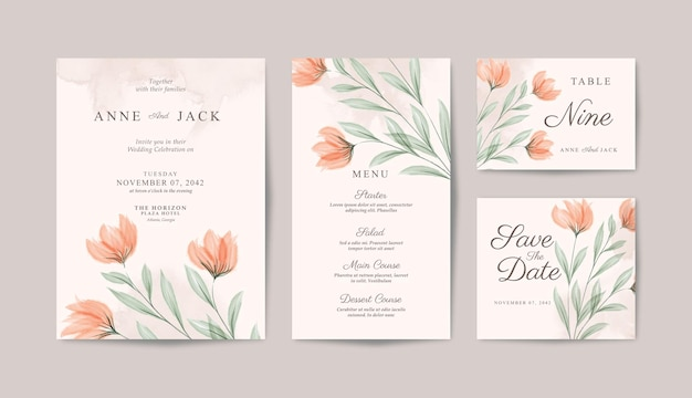 Collezione di carte di nozze minimalista con acquarello di bellissimi fiori