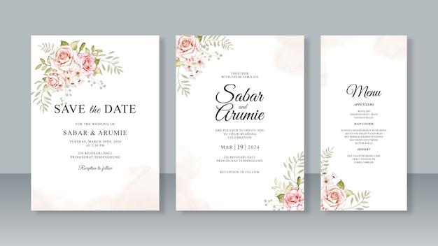 Modello di set di invito per partecipazioni di nozze minimalista con acquerello floreale e splash