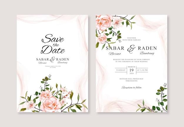 Modello di invito carta matrimonio minimalista con acquerello floreale