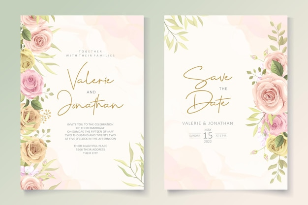 Set di carte di nozze minimalista con decorazioni floreali