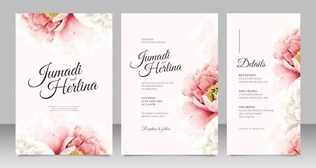 Modello di carta di matrimonio minimalista con peonie realistiche