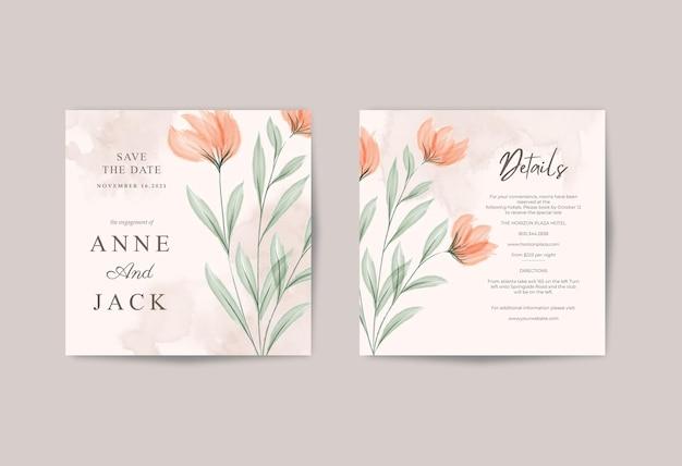 Partecipazione di nozze minimalista con acquerello bellissimo fiore