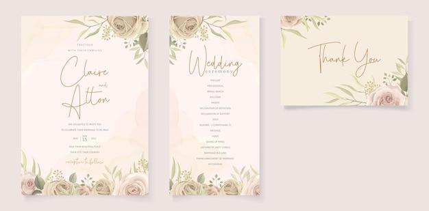 Partecipazioni di nozze minimaliste con decorazioni floreali