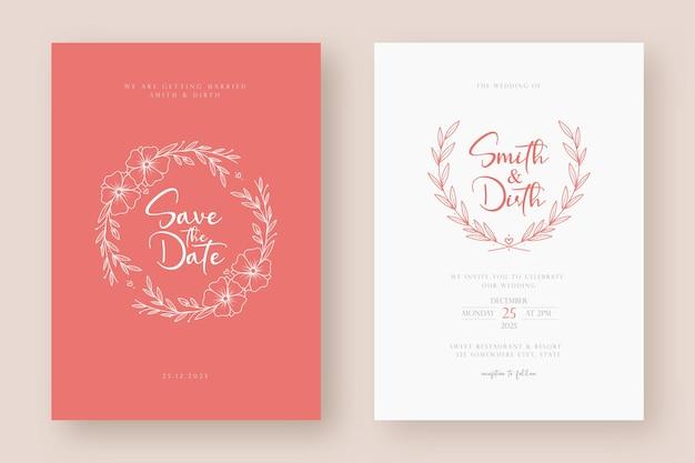 Modello di carta di invito matrimonio minimalista con illustrazione di ghirlanda floreale in stile arte linea