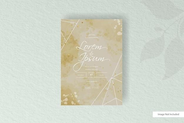 Carta di invito matrimonio minimalista con linea geometrica e spruzzata dell'acquerello colorato astratto