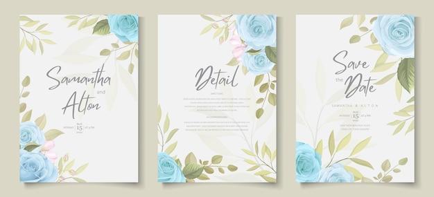 Carta di invito matrimonio minimalista con disegno floreale dai colori tenui