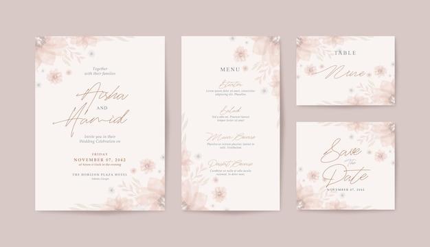 Modello di invito matrimonio minimalista con bellissimo acquerello