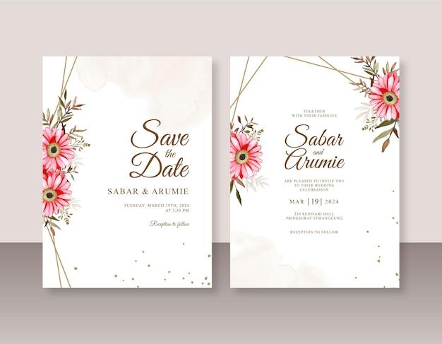Modello di invito di matrimonio minimalista con acquerello di fiori