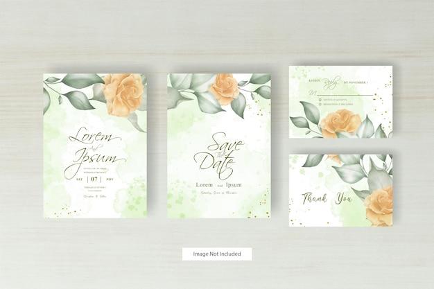 Modello minimalista dell'invito di nozze con il disegno floreale e astratto della spruzzata dell'acquerello disegnato a mano