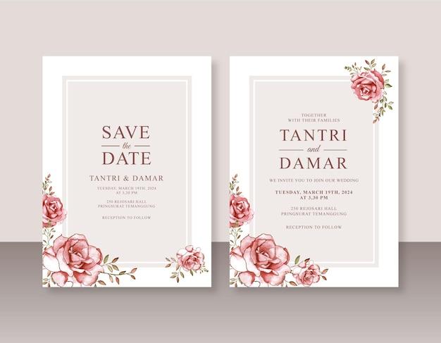 Modello di invito di matrimonio minimalista con rose acquerellate dipinte a mano