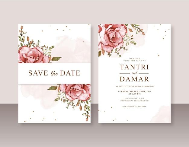 Modello di invito di matrimonio minimalista con pittura ad acquerello rosa