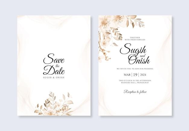 Modello di invito matrimonio minimalista con acquerello floreale