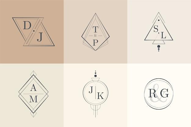Monogrammi di matrimonio minimalista nella collezione di colori pastello