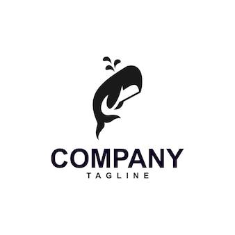 Minimalist whale logo premium