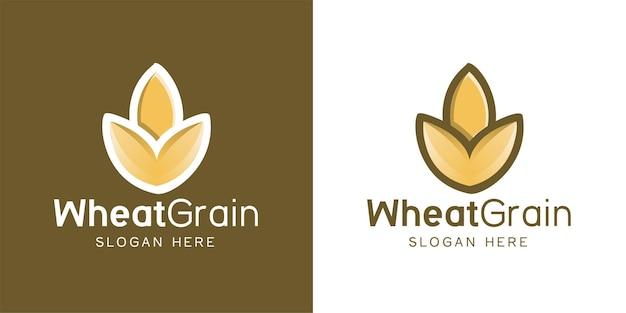 Grano minimalista, ispirazione per il design del logo dell'agricoltura del grano