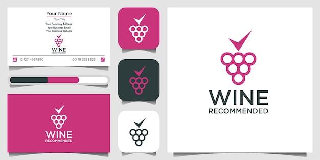Design minimalista del logo del vino con stile line art