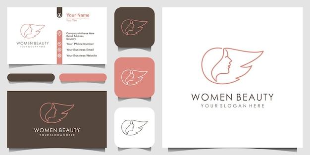 Design minimalista del logo del viso e del parrucchiere della donna